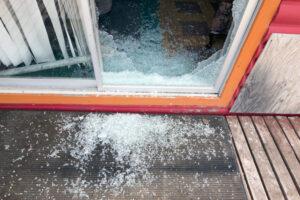 Shattered Glass Sliding Door